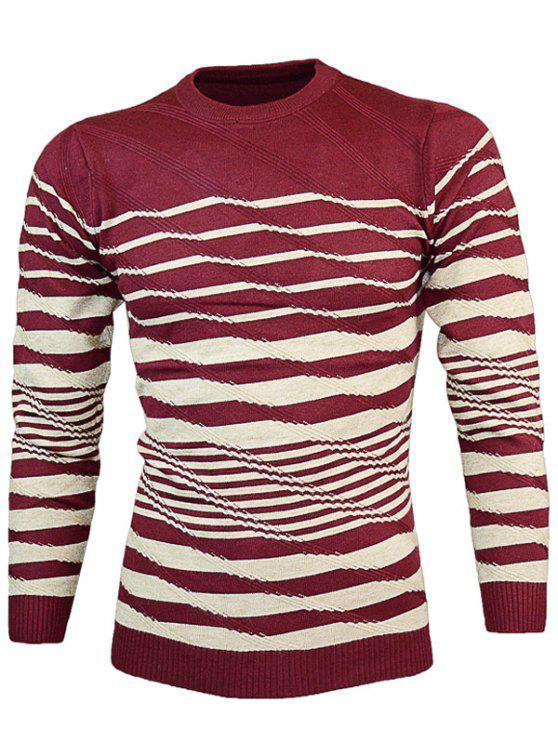 Ras du cou Vague Stripe Pull Tricots - Rouge vineux  XL