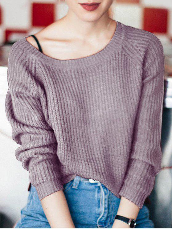 womens Boat Neck Loose Sweater - PURPLE ONE SIZE