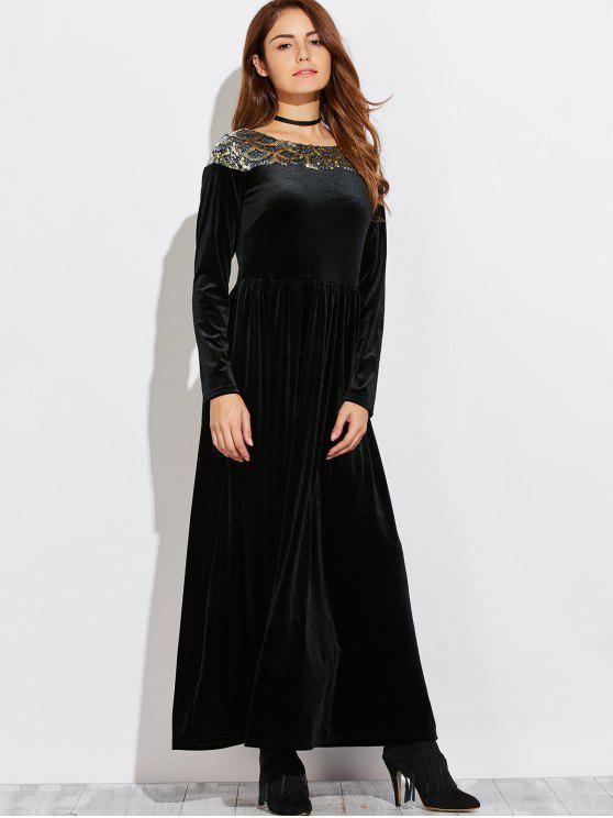 trendy Sequined Velvet Long Swing Dress With Sleeves - BLACK XL