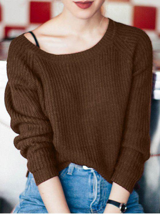 buy Boat Neck Loose Sweater - COFFEE ONE SIZE