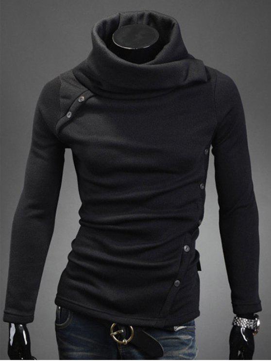 سويت طويلة الأكمام عالية الرقبة - أسود XL