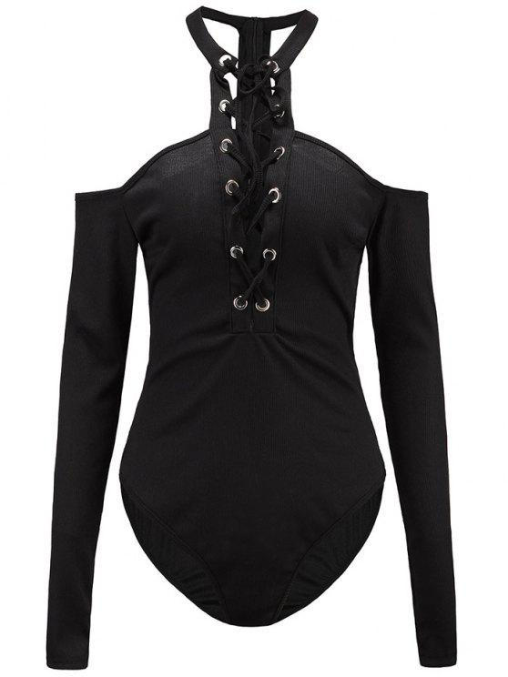womens Long Sleeves Lace Up Cold Shoulder Bodysuit - BLACK M