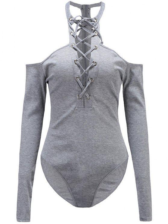 Combinaison à manches longues à épaules dénudées à lacets - Gris XL