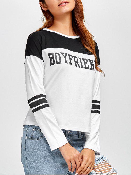 online Boyfriend Graphic Color Block T-Shirt - WHITE S