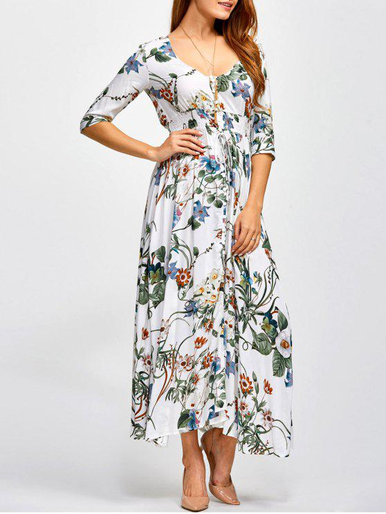 unique Printed Plunging Neck Shirred Maxi Dress - FLORAL M