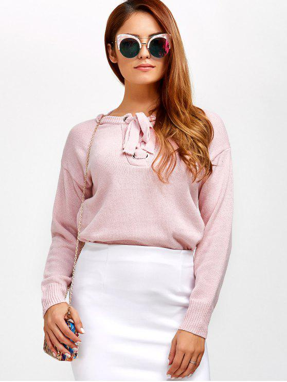 women's Leisure Lace-Up Sweater - LIGHT PINK ONE SIZE