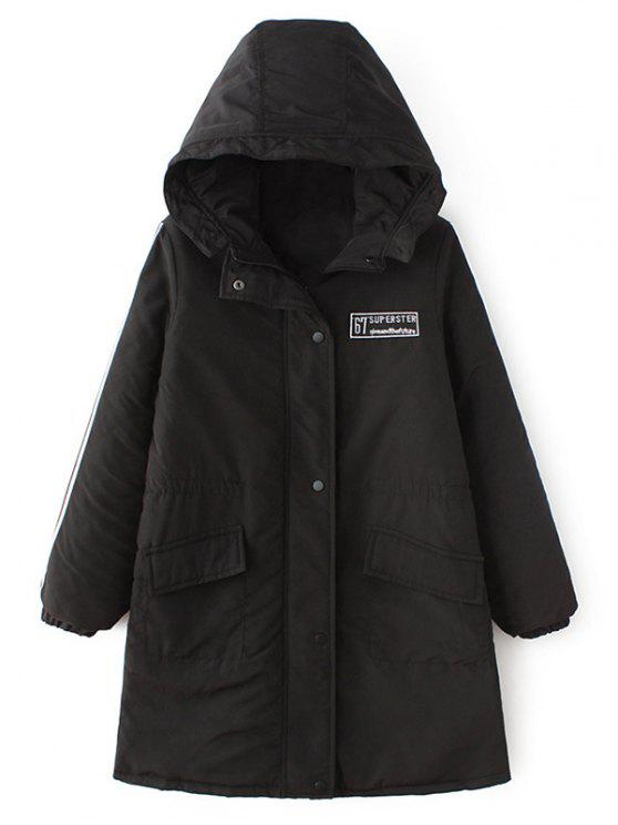online Padded Embroidered Parka Coat - BLACK M