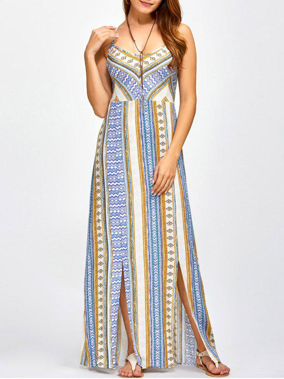 womens Sweetheart Cami Maxi Bohemian Dress - BLUE S
