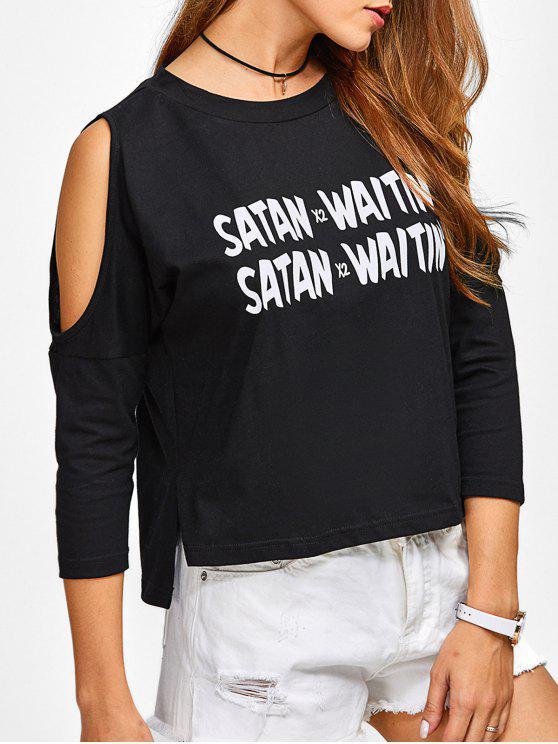 women Cold Shoulder Graphic Side Slit T-Shirt - BLACK M