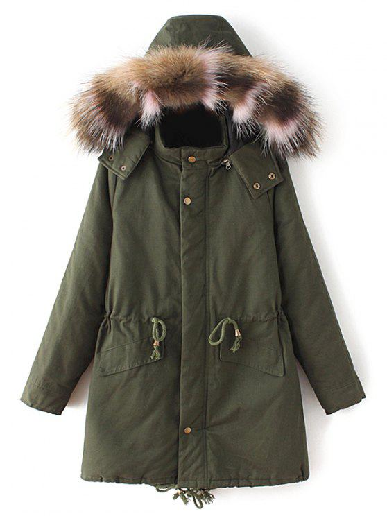 best Quilted Faux Fur Collar Parka - ARMY GREEN S