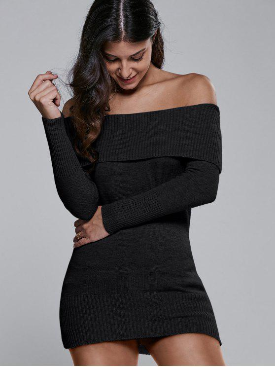 Off The Shoulder Slimming Sweater Dress BLACK: Sweater ...