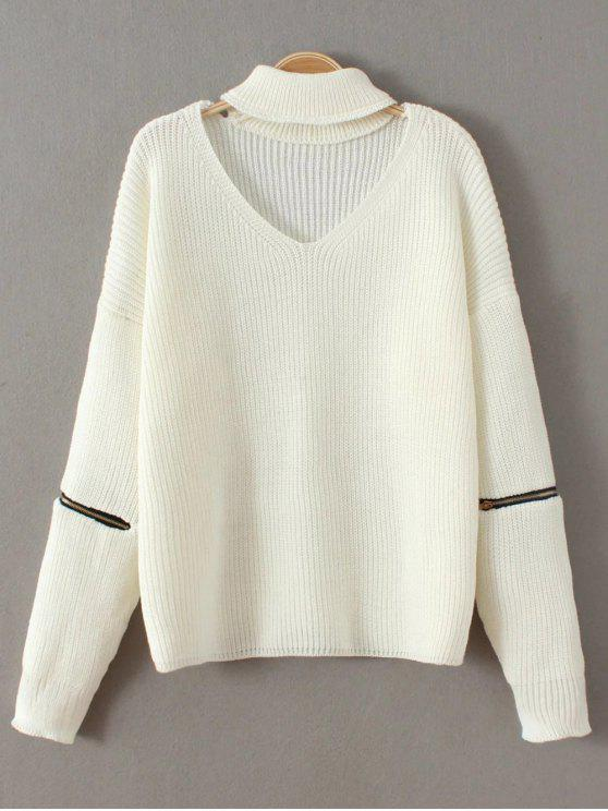 hot Zip Sleeve Choker Neck Sweater - WHITE ONE SIZE