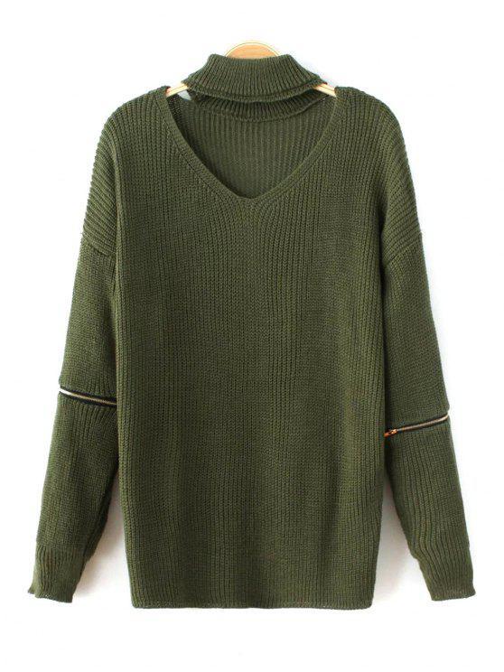 Cremallera de la manga del suéter de cuello del ahogador - Verde Única Talla