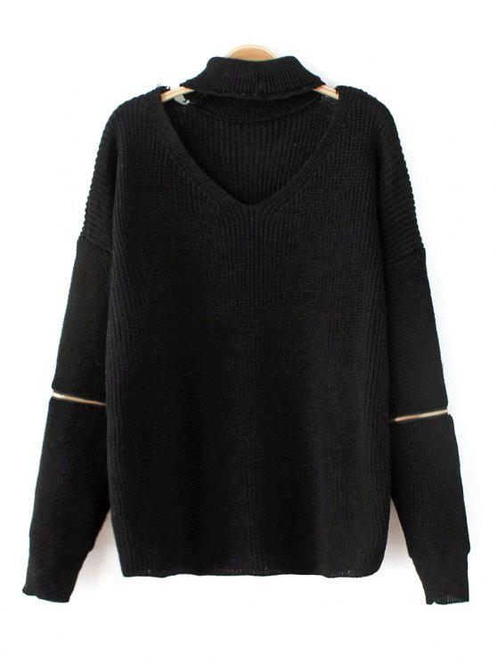outfits Zip Sleeve Choker Neck Sweater - BLACK ONE SIZE