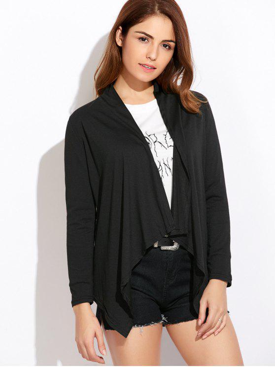 fancy Drape Front Blouse With Elbow Patch - BLACK S