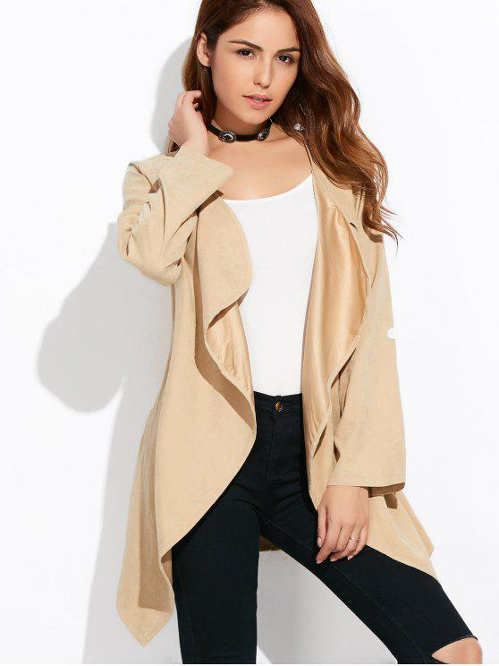 fashion Drape Front Coat - LIGHT KHAKI 2XL