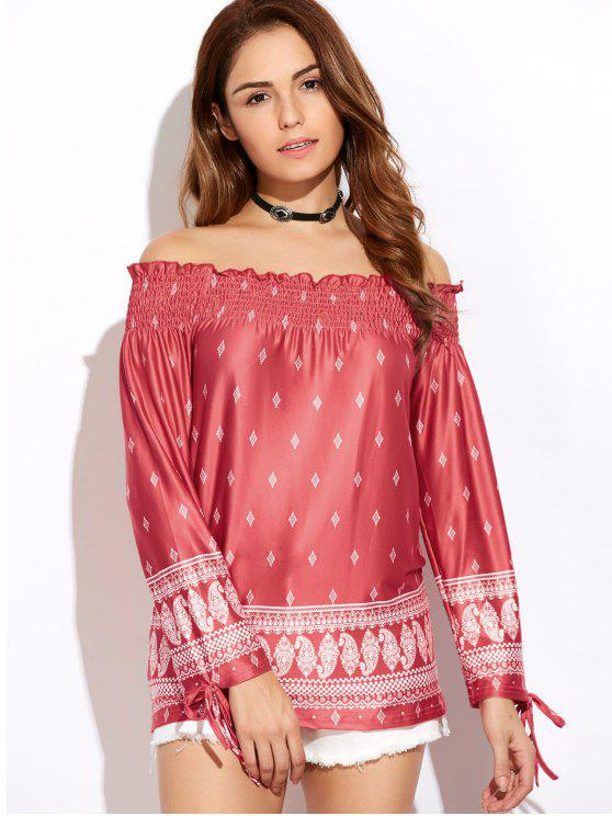 sale Printed Off The Shoulder Top - RED L