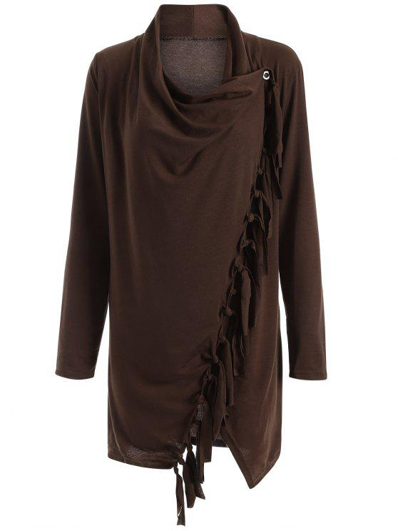 shop Tassels Side Button Cape - COFFEE XL