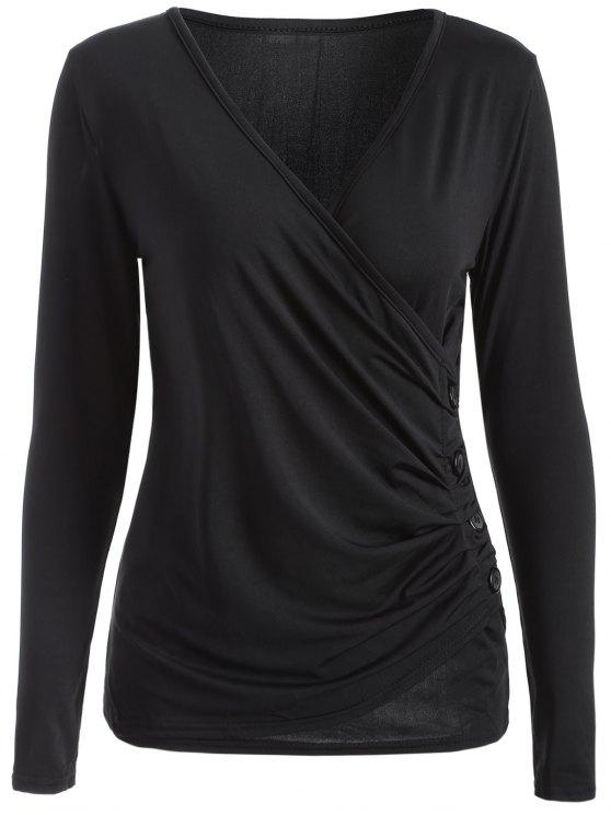 women Buttons Runched Surplice T-Shirt - BLACK M