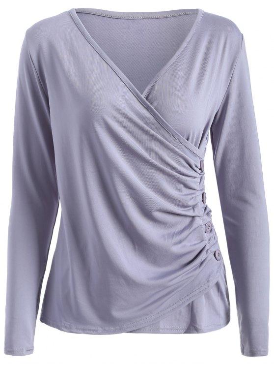 Botones Runched Sobrepelliz la camiseta - Gris L