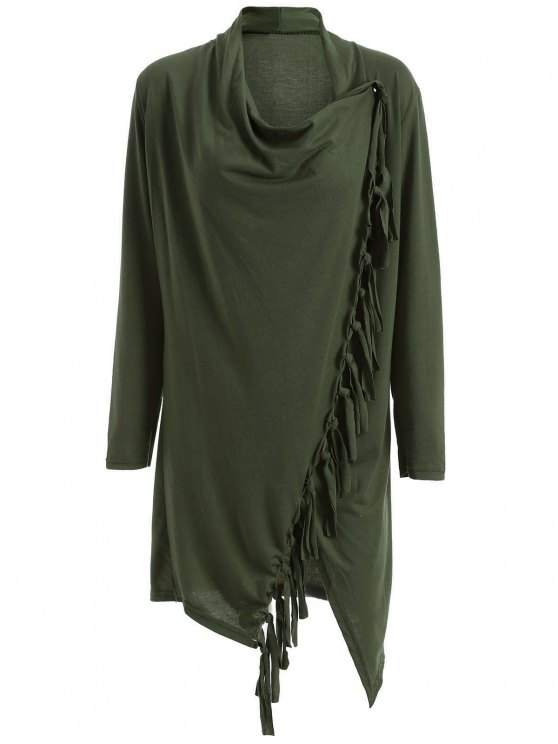 best Tassels Side Button Cape - ARMY GREEN XL