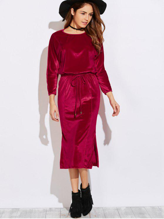 buy Side Slit Midi Velvet Blouson Dress - BURGUNDY S