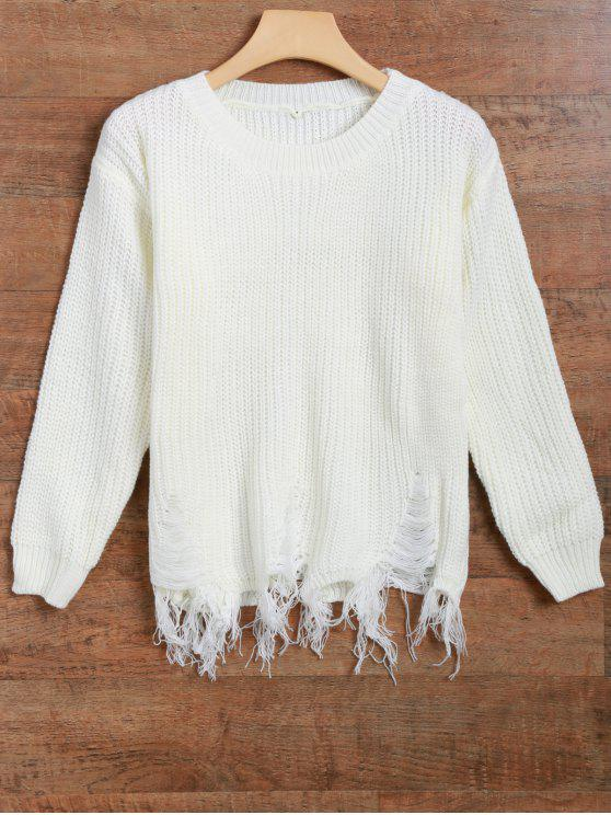 women's Fringed Ripped Sweater - OFF-WHITE ONE SIZE