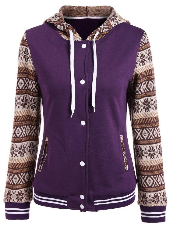 Button Up impressão Tribal Painel cordão Hoodie - Roxa M