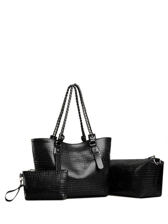 women Embossing Chain PU Leather Shoulder Bag - BLACK