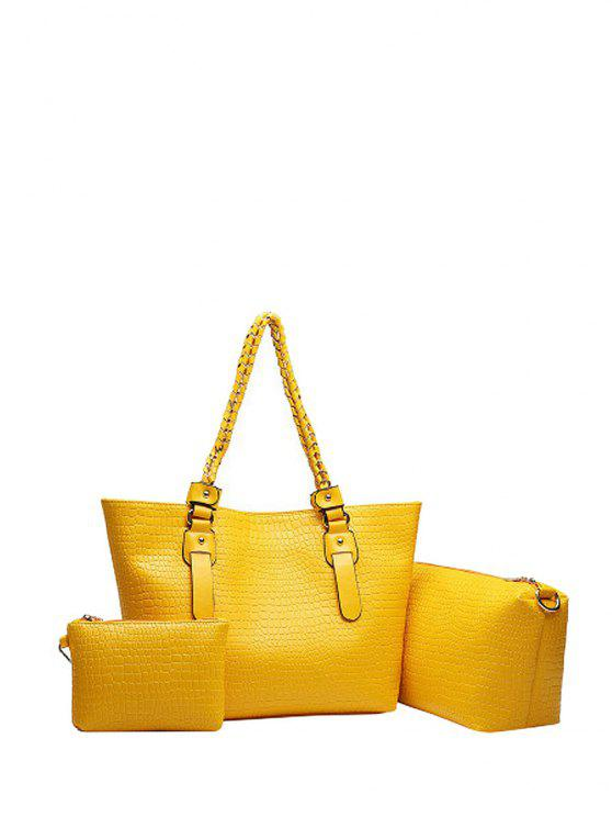 ladies Embossing Chain PU Leather Shoulder Bag - YELLOW