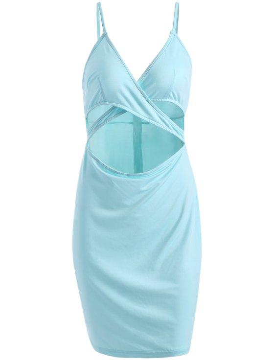Cortar la vaina tachado vestido de Cami - Azul Claro M