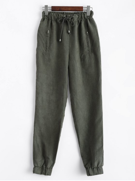 best Suede Carrot JoggingPants - GREEN S