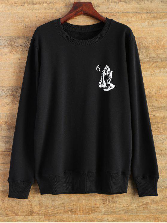 fancy Pullover Crewneck Sweatshirt - BLACK M