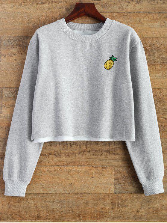 fashion Raw Hem Cropped Sweatshirt - GRAY M
