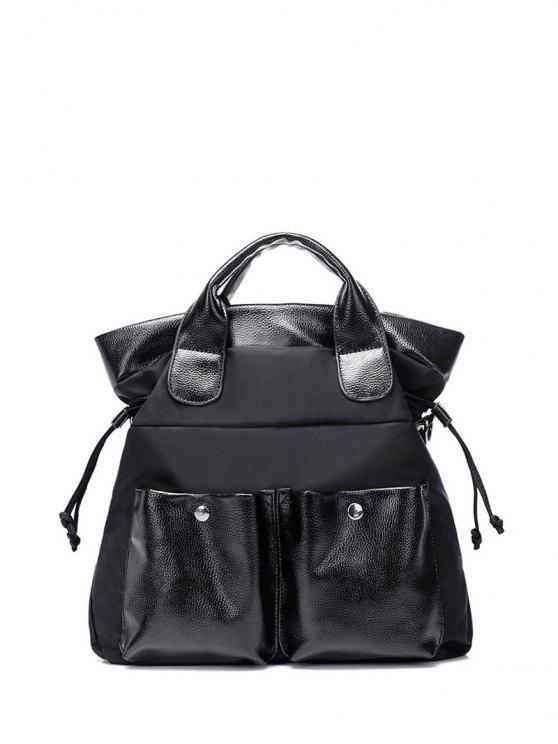 الرباط الجيب مزدوج الربط حمل حقيبة - أسود