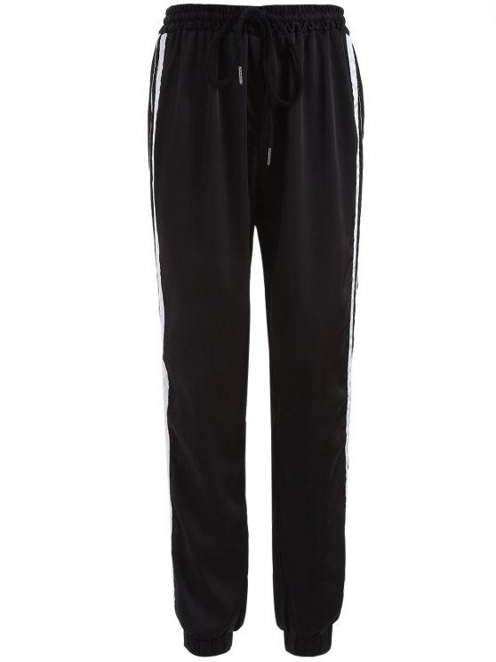 Los pantalones de rayas con cordón de gimnasia - Negro XL