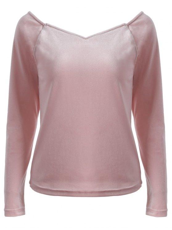 T-shirt ajusté à encolure en V avec manches longues - ROSE PÂLE 2XL