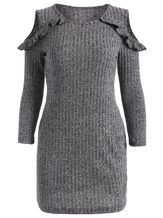 shop Cold Shoulder Bodycon Sweater Dress - GRAY XL