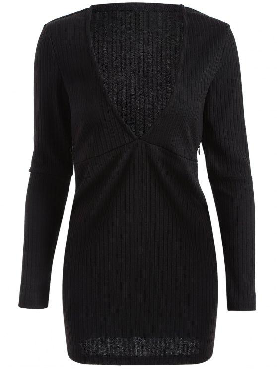 lady Long Sleeve Bodycon Plunge Dress - BLACK L