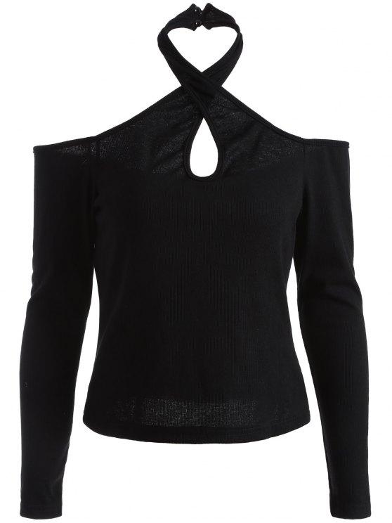 Manga larga con hombros de la camiseta - Negro S