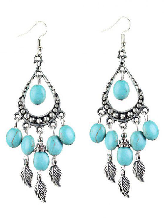 trendy Bohemian Faux Turquoise Leaf Chandelier Earrings - SILVER