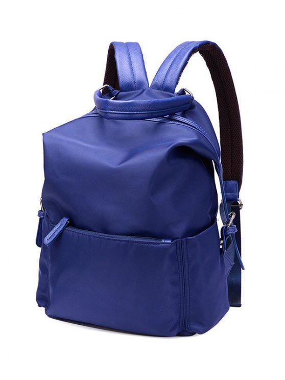 Double Buckle Splicing Zippers Backpack - Bleu