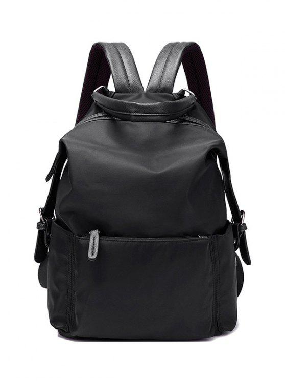 shop Double Buckle Splicing Zippers Backpack - BLACK