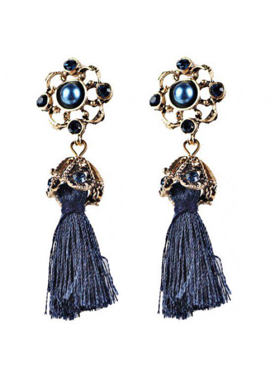 Boucles d'oreilles ornées de strass avec pendentifs à frange à style vintage - Bleu