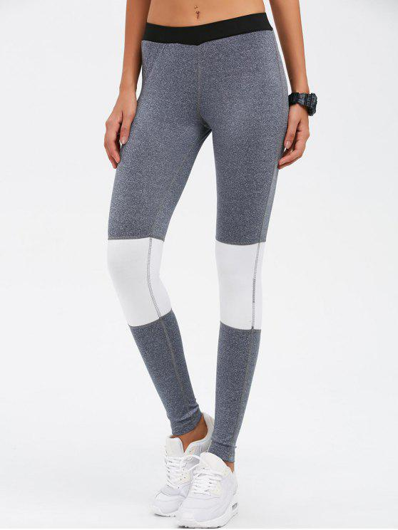 outfits Color Block Skinny Yoga Leggings - GRAY M