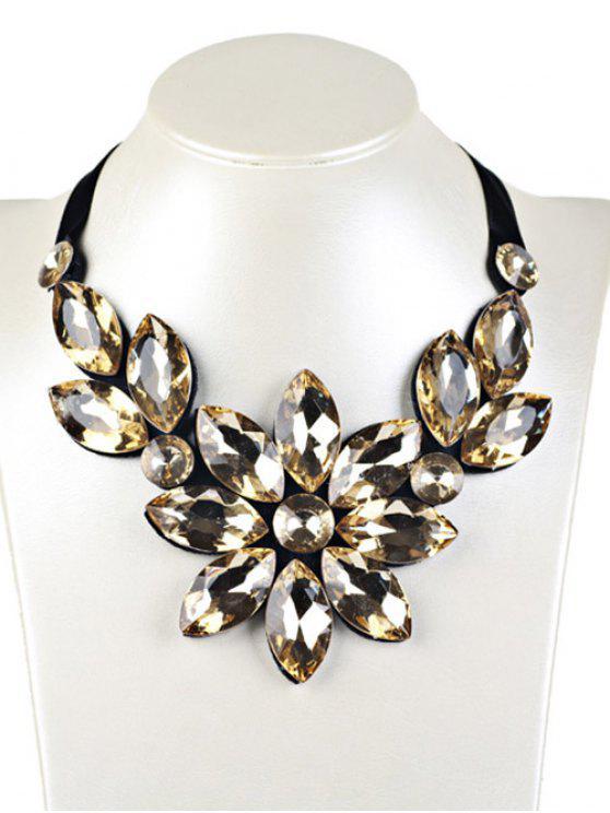 Collier artificie lavec pendentif floral en faux cristal - Jaune