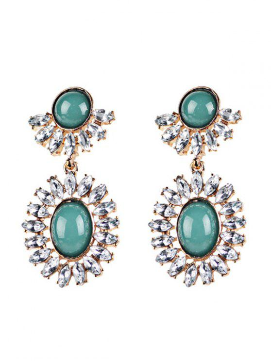 sale Rhinestoned Oval Drop Earrings - GREEN