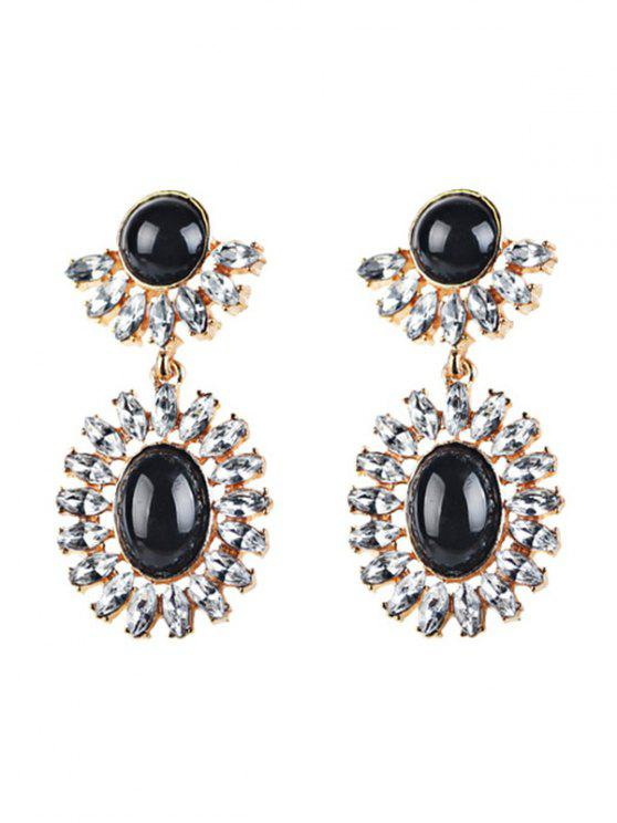 buy Rhinestoned Oval Drop Earrings - BLACK