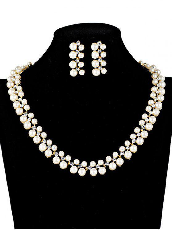 Ensemble de bijoux de mariage ornés strass et perles artificielles - Blanc