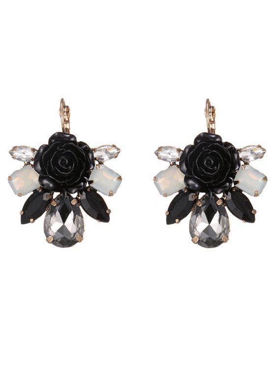 Pendientes cristalinos de la flor de imitación de esmalte - Negro